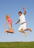 航空夫妇跳的年轻人 图库摄影