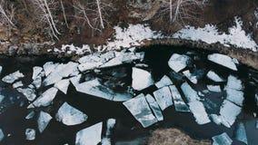 航空射击 冰巨大的片断在河的在冰大混乱期间 影视素材