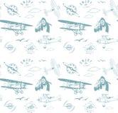 航空样式蓝色无缝的组合图案减速火箭的葡萄酒 皇族释放例证