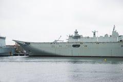 航空母舰在海 库存图片