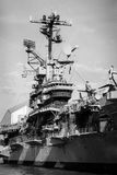 航空母舰塔台钢船博物馆黑色白色 免版税库存图片