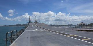 航空母舰的跑道 库存图片