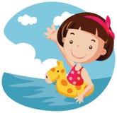 航空浮体女孩 库存图片