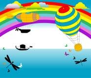 航空热baloon的飞船 库存图片