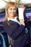 航空白肤金发的女招待空中小姐 免版税库存照片