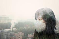 航空背景蓝色工厂污染 免版税图库摄影