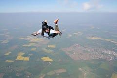 航空落的跳伞运动员 免版税库存照片