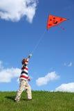 航空蓝色儿童蛇天空开始夏天 免版税库存照片