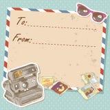 航空邮件与老难看的东西信包的旅行明信片 免版税图库摄影