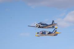 航空L-39 Albatros和T 28特洛伊人 免版税库存图片