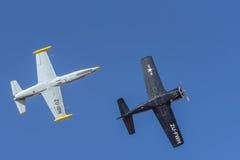 航空L-39 Albatros和T 28特洛伊人 库存照片