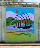 航行一条桥梁地下过道的小船的壁画海洋在詹姆斯Rd在孟菲斯, Tn 库存图片