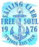 航行与船锚的俱乐部商标 皇族释放例证