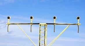 航行器着陆的被阐明的标志,巴塞罗那机场 免版税图库摄影