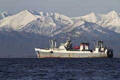 航行在多雪的backgroun的海湾Avachinskaya的渔船 库存图片