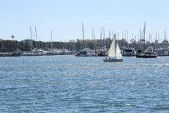 航行在德拉瑞码头,加利福尼亚 免版税库存照片