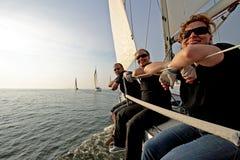 航行在荷兰在日落 库存照片