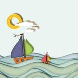 航行在蓝色海的小船 免版税图库摄影