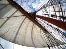 航行在tallship或风船,风帆看法  免版税库存照片