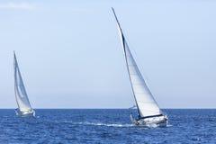 航行游艇况赛 在地中海的巡航 库存照片