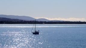 航行游艇在塔斯马尼亚岛海湾的明亮的晴朗的蓝色海洋 库存照片