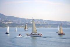 航行游艇,瓦尔纳保加利亚 免版税库存图片