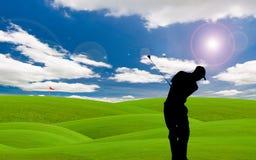 航路高尔夫球 库存图片
