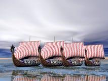 舰队发运北欧海盗 免版税库存照片