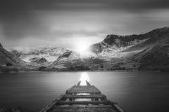 舰队盐水湖的美好的黑白日落风景图象 库存照片