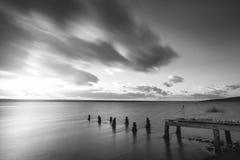 舰队盐水湖的美好的黑白日落风景图象 免版税库存图片