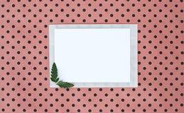 舱内甲板、位置、背景与白皮书板料文本的和蕨叶子,顶视图,圆点背景,自然颜色 库存照片