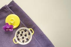 舱内甲板在罐的被放置的健康早餐燕麦粥,muesli用新鲜的蓝莓和无核小葡萄干 免版税图库摄影
