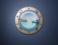舷窗游艇 库存照片