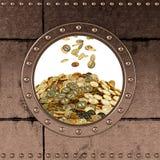 舷窗-保险柜- Bitcoins 库存照片