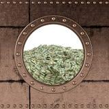 舷窗-美金 免版税图库摄影