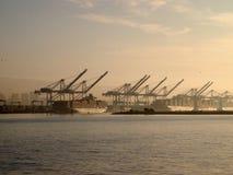 货船休息在起重机下在奥克兰港口在一有雾的天 图库摄影