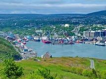 船在圣约翰` s怀有,纽芬兰,加拿大 图库摄影