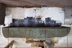 船在埃利斯岛放弃了精神病院内部房间 库存图片