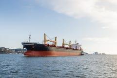 货船在用力拖的河 免版税库存照片