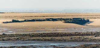 船在西部威尔士海岸泄怒 免版税库存图片