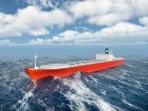 货船在风雨如磐的海洋 免版税库存图片