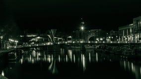船坞和Pero桥梁在布里斯托尔在夜之前 免版税库存照片