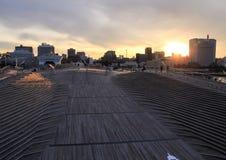 船坞在日落天空背景的横滨 在日本附近的旅行 免版税库存图片