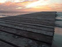 船坞在船坞的camineriw日落 库存照片