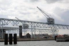 船坞起重机在哥本哈根,哥本哈根,丹麦 免版税库存照片