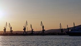 船坞起重机,沃洛斯口岸,希腊 库存图片