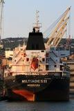 船尾利比里亚货船在力耶卡港的Miltiades II  免版税库存照片