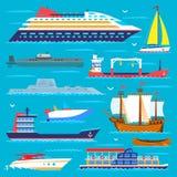 船巡洋舰小船海运标志船旅行传染媒介风船巡航套海军陆战队员 库存例证