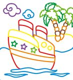 船彩图在海岛附近的 库存图片