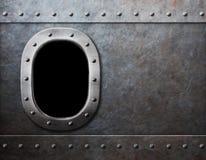 船或潜水艇窗口蒸汽低劣的金属背景 免版税图库摄影